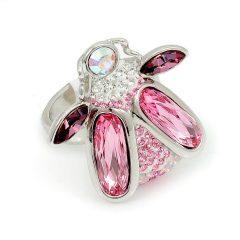 Ródiummal bevont bogár gyűrű rózsaszín Swarovski kristályokkal #7 + AJÁNDÉK DÍSZDOBOZ (0481.)