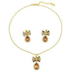 Arannyal bevont masnis csepp ékszerszett színes ausztriai kristályokkal + AJÁNDÉK DÍSZDOBOZ (0839.)