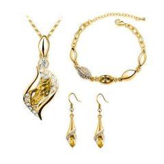 Arannyal bevont 3 részes ékszerszett pezsgőszínű kristályokkal + AJÁNDÉK DÍSZDOBOZ (0603.)