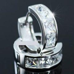 Fehérarannyal bevont félkör alakú fülbevaló 1,5 karátos szimulált gyémánttal + AJÁNDÉK DÍSZDOBOZ (1131.)