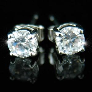 18k fehérarannyal bevont férfi fülbevaló kör alakú szimulált gyémánttal  + AJÁNDÉK DÍSZDOBOZ (951.)