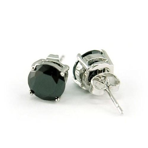 18k fehérarannyal bevont férfi fülbevaló kör alakú fekete szimulált gyémánttal ( 6 mm-es ) + AJÁNDÉK DÍSZDOBOZ (0950.)