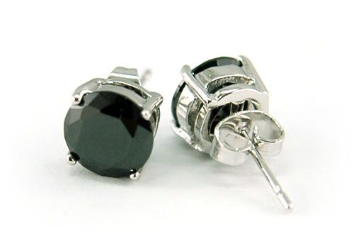 18k fehérarannyal bevont férfi fülbevaló kör alakú fekete szimulált gyémánttal ( 8 mm-es ) + AJÁNDÉK DÍSZDOBOZ (1520.)