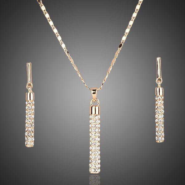 Arannyal bevont függő medálos ékszerszett áttetsző egyedi kristályokkal  + AJÁNDÉK DÍSZDOBOZ (1375.)