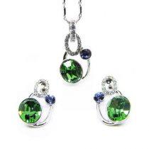 18k fehérarannyal bevont ékszerszett zöld és lila színű egyedi kristályokkal + AJÁNDÉK DÍSZDOBOZ (1424.)