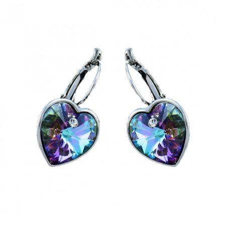 Ródiummal bevont akasztós szív fülbevaló lila Swarovski kristályokkal + AJÁNDÉK DÍSZDOBOZ (0027.)