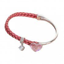 Platinával bevont karkötő halvány rózsaszín, szív alakú Swarovski kristállyal + AJÁNDÉK DÍSZDOBOZ (0062.)