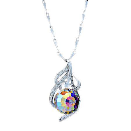 Platinával bevont exkluzív nyaklánc gömb alakú, színjátszó Swarovski kristállyal + AJÁNDÉK DÍSZDOBOZ (0589.)