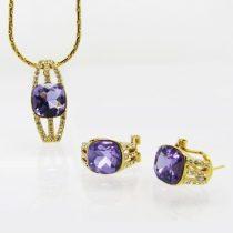 Aranyozott, lila színű egyedi kristályos ékszerszett + AJÁNDÉK DÍSZDOBOZ (1425.)