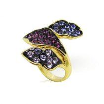 Arannyal bevont gyűrű lila és rózsaszín ausztriai kristályokkal #7 + AJÁNDÉK DÍSZDOBOZ (0661.)
