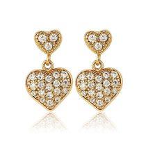 Arannyal bevont, kisméretű függő szív fülbevaló áttetsző CZ kristályokkal + AJÁNDÉK DÍSZDOBOZ (0705.)