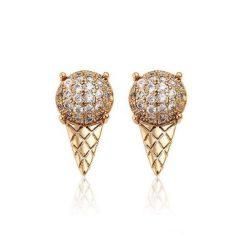 Arannyal bevont fagyi fülbevaló áttetsző CZ kristályokkal + AJÁNDÉK DÍSZDOBOZ (0283.)