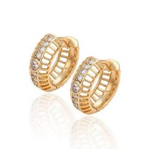 Arannyal bevont különleges karika fülbevaló áttetsző CZ kristályokkal + AJÁNDÉK DÍSZDOBOZ (0020.)