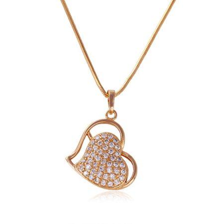 Arannyal bevont szív nyaklánc áttetsző cirkónia kristályokkal + AJÁNDÉK DÍSZDOBOZ (1017.)