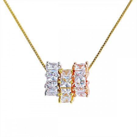 Arannyal, rózsaarannyal és platinával bevont nyaklánc CZ kristályokkal + AJÁNDÉK DÍSZDOBOZ (0541.)