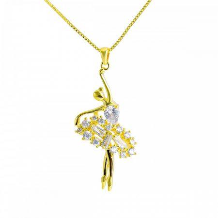 Arannyal bevont, kis méretű balerina nyaklánc cirkónia kristályokkal + AJÁNDÉK DÍSZDOBOZ (0665.)