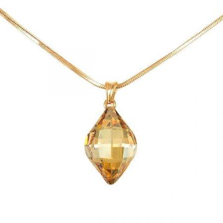 Arannyal bevont exkluzív rombusz nyaklánc pezsgőszínű Swarovski kristállyal + AJÁNDÉK DÍSZDOBOZ (0555.)