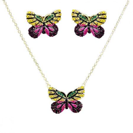 Arannyal bevont pillangó ékszerszett színes cirkónia kristályokkal + AJÁNDÉK DÍSZDOBOZ (0050.)