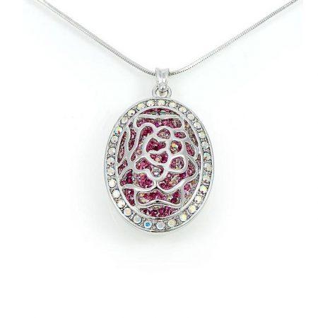 Ródiummal bevont exkluzív rózsás nyaklánc rózsaszín Swarovski kristályokkal + AJÁNDÉK DÍSZDOBOZ (0979.)