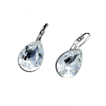 Platinával bevont csepp fülbevaló áttetsző Swarovski kristályokkal + AJÁNDÉK DÍSZDOBOZ (0153.)