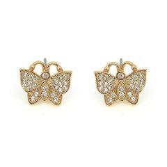 Arannyal bevont elegáns pillangó fülbevaló áttetsző CZ kristályokkal + AJÁNDÉK DÍSZDOBOZ (1005.)
