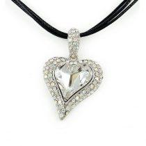 Platinával bevont exkluzív szív nyaklánc áttetsző Swarovski kristályokkal + AJÁNDÉK DÍSZDOBOZ (0362.)
