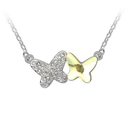 Platinával bevont pillangó nyaklánc sárga és áttetsző Swarovski kristályokkal + AJÁNDÉK DÍSZDOBOZ (0334.)