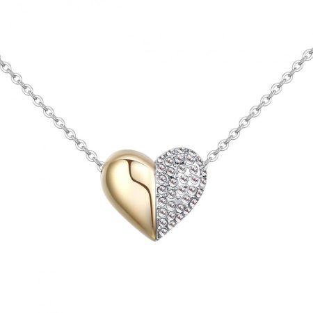 Arannyal és ródiummal bevont kis szív nyaklánc áttetsző cseh kristályokkal + AJÁNDÉK DÍSZDOBOZ (0214.)