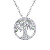 Ródiummal bevont életfa nyaklánc zöld és áttetsző kristályokkal + AJÁNDÉK DÍSZDOBOZ (0537.)