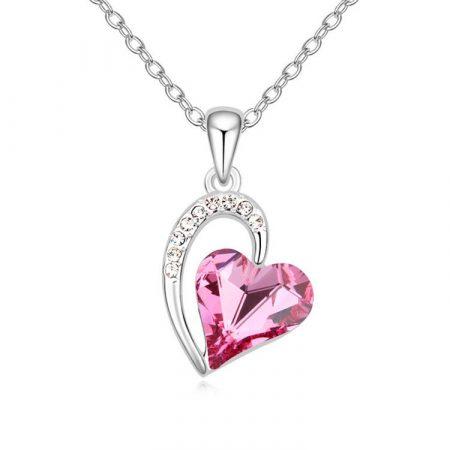 Szív nyaklánc pink színű Swarovski kristállyal, ródium bevonattal + AJÁNDÉK DÍSZDOBOZ (0808.)