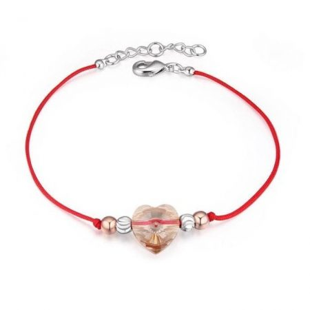 Vörös fonalas kabbala karkötő szív alakú Swarovski kristállyal + AJÁNDÉK DÍSZDOBOZ (0262.)
