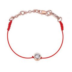 Vörös fonalas kabbala karkötő rózsaarany bevonattal, Swarovski kristályos díszítéssel + AJÁNDÉK DÍSZDOBOZ (0793.)