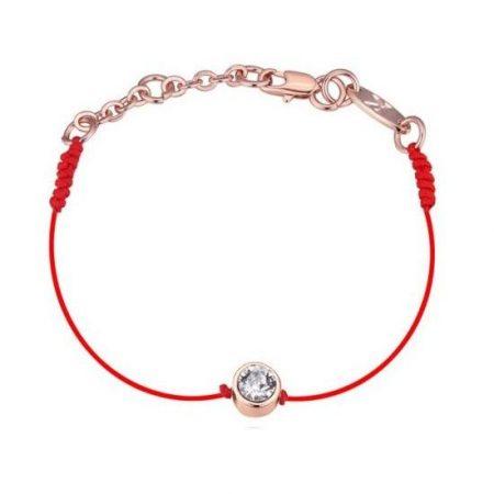 Vörös fonalas kabbala karkötő rózsaarany bevonattal, ausztriai kristályos díszítéssel + AJÁNDÉK DÍSZDOBOZ (0793.)