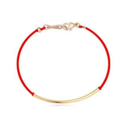 Arannyal bevont kabbala karkötő vörös fonállal + AJÁNDÉK DÍSZDOBOZ (0135.)
