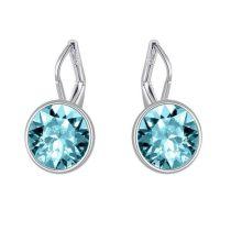 Platinával bevont akasztós fülbevaló kék Swarovski kristályokkal + AJÁNDÉK DÍSZDOBOZ (0079.)