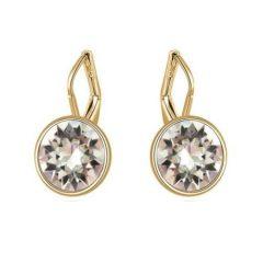 Arannyal bevont akasztós fülbevaló áttetsző Swarovski kristályokkal + AJÁNDÉK DÍSZDOBOZ (0641.)