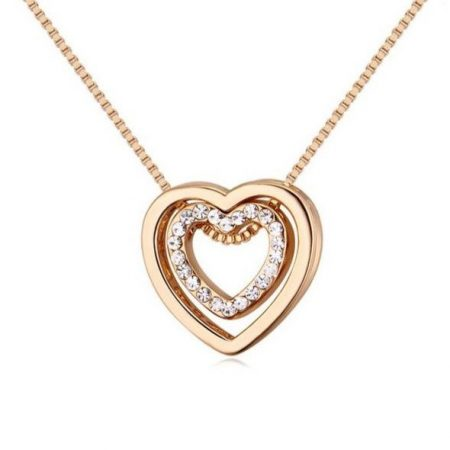 Arannyal bevont kis méretű dupla szív nyaklánc CZ kristályokkal + AJÁNDÉK DÍSZDOBOZ (0124.)