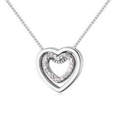 Ródiummal bevont kis méretű dupla szív nyaklánc CZ kristályokkal + AJÁNDÉK DÍSZDOBOZ (0186.)