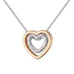 Arannyal és ródiummal bevont kis méretű dupla szív nyaklánc CZ kristályokkal + AJÁNDÉK DÍSZDOBOZ (0225.)