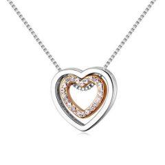 Ródiummal és arannyal bevont kis méretű dupla szív nyaklánc CZ kristályokkal + AJÁNDÉK DÍSZDOBOZ (0243.)
