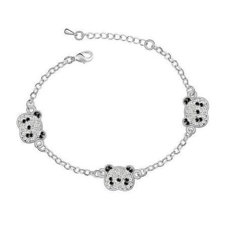 Ródiummal bevont panda maci karkötő ausztriai kristályokkal + AJÁNDÉK DÍSZDOBOZ (0936.)