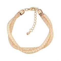 Arannyal bevont rácsos karkötő egyedi kristályokkal, szimulált gyöngyökkel + AJÁNDÉK DÍSZDOBOZ (0916.)