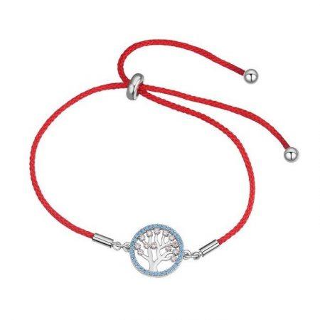 Vörös fonalas kabbala karkötő életfa díszítéssel, áttetsző CZ kristályokkal + AJÁNDÉK DÍSZDOBOZ (0003.)