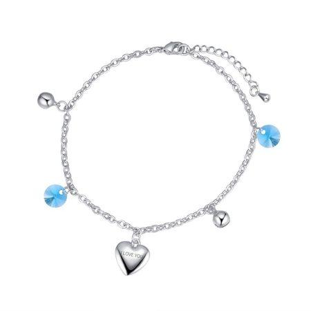 Ródiummal bevont szíves bokalánc kék Swarovski kristályokkal + AJÁNDÉK DÍSZDOBOZ (0824.)