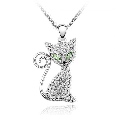 Mágikus szemű cica nyaklánc Swarovski kristályokkal + AJÁNDÉK DÍSZDOBOZ (0100.)