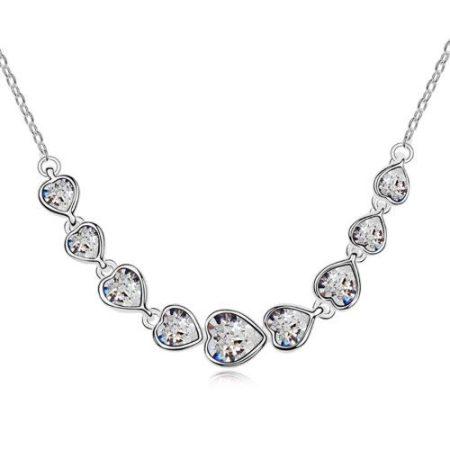 18k fehérarannyal bevont szívfűzér nyaklánc áttetsző Swarovski kristályokkal + AJÁNDÉK DÍSZDOBOZ (1592.)