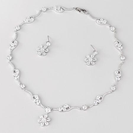 Virágos esküvői/alkalmi luxus ékszerszett CZ kristályokkal, platina bevonattal +AJÁNDÉK DÍSZDOBOZ (0620.)