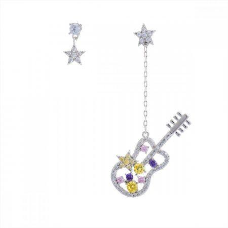 Platinával bevont függő gitár fülbevaló CZ kristályokkal + AJÁNDÉK DÍSZDOBOZ (0865.)