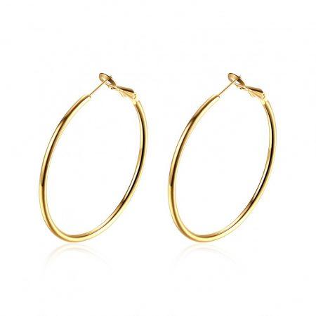 Arannyal bevont klasszikus karika fülbevaló (4,3 cm -es) + AJÁNDÉK DÍSZDOBOZ (1062.)