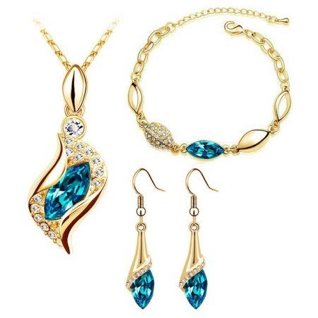 Arannyal bevont 3 részes ékszerszett tengerkék színű kristályokkal + AJÁNDÉK DÍSZDOBOZ (1036.)